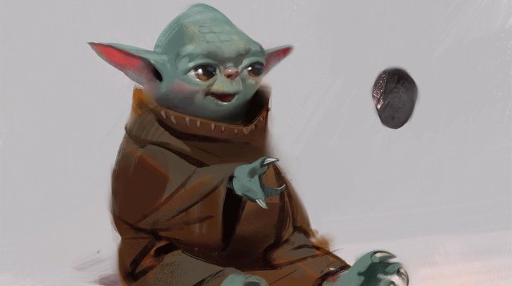 Diseño de Baby Yoda descartado