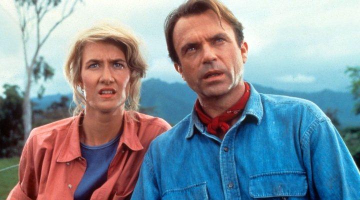 Laura Dern y Sam Neill en 'Parque Jurásico' (1993)
