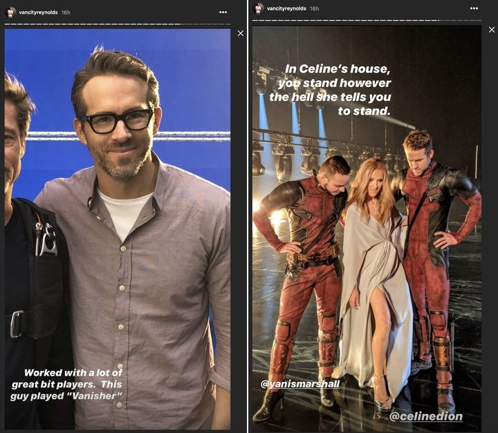 Ryan Reynolds con Brad Pitt y Céline Dion