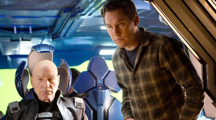 Bryan Singer y Patrick Stewart en el rodaje de 'X-Men'