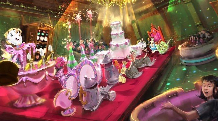 Concept art de la atracción de 'La bella y la bestia' de Tokio Disneyland