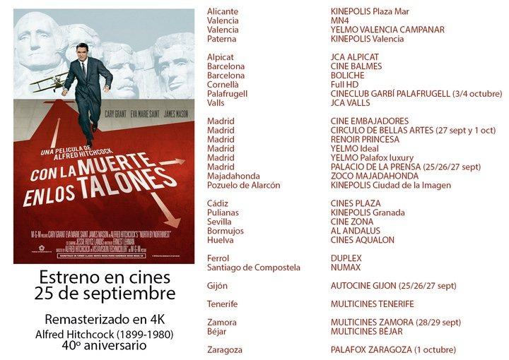 Lista de cines del reestreno de 'Con la muerte en los talones'