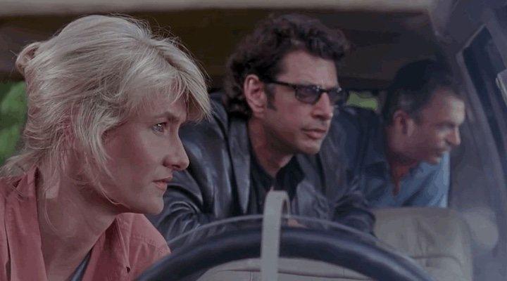 Laura Dern, Sam Neill y Jeff Goldblum en 'Jurassic Park'