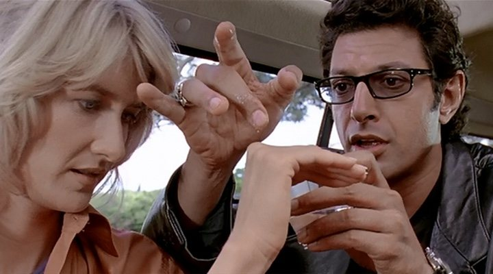 Laura dern y Jeff Goldblum en 'Parque Jurásico'