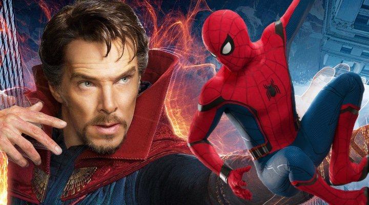 Benedict Cumberbatch en la piel de Doctor Strange con el Spider-man de Tom Holland