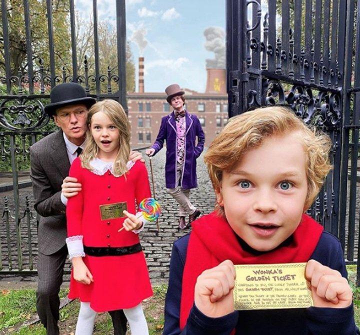 Neil Patrick Harris, su marido y sus hijos disfrazados de 'Charlie y la fábrica de chocolate' para Halloween