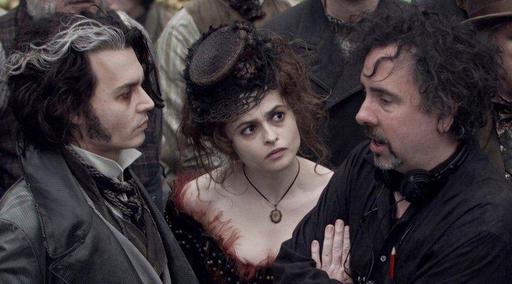 Johnny Depp, Helena Bonham Carter y Tim Burton en el rodaje de 'Sweeney Todd'