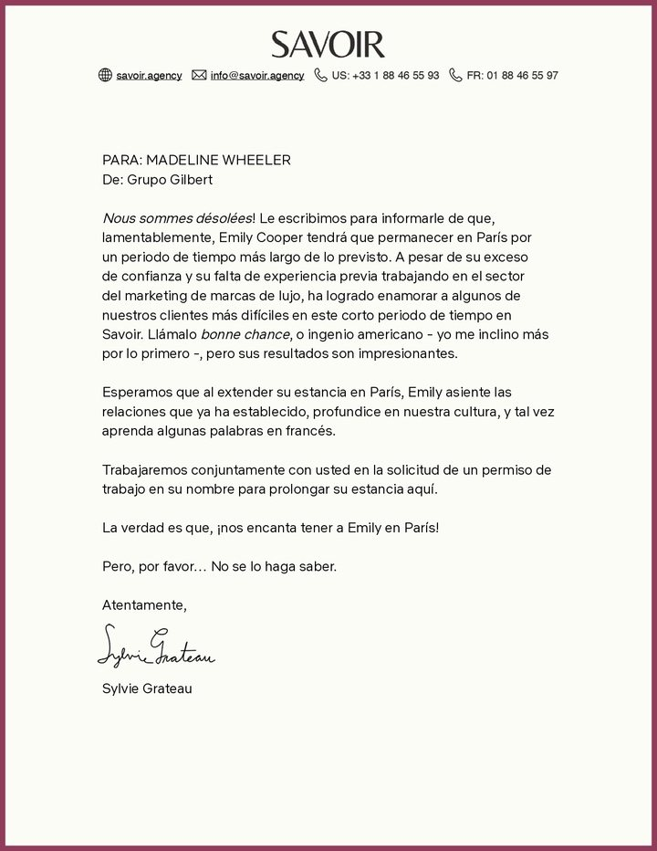 Carta 'Emily en Paris' temporada 2