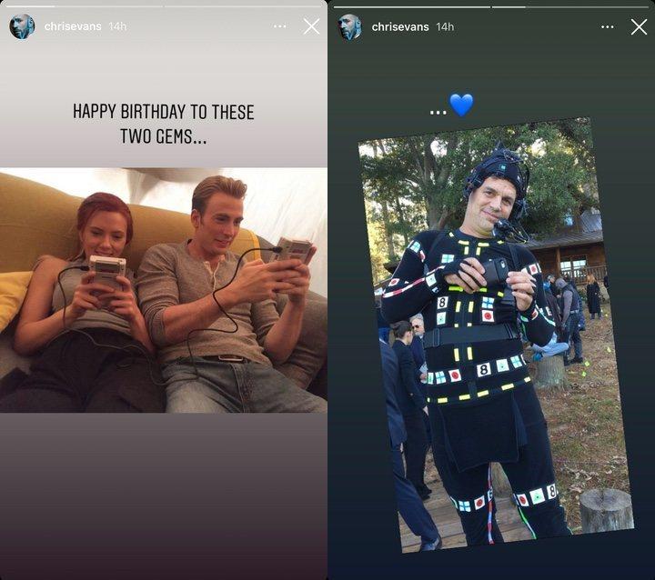 La felicitación de cumpleaños de Chris Evans a Scarlett Johansson y Mark Ruffalo