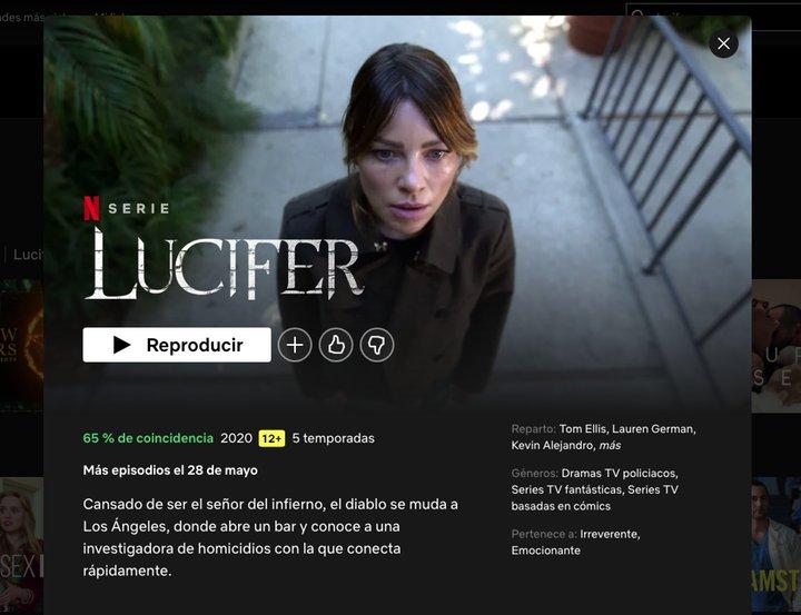 Captura de pantalla del perfil de 'Lucifer' en Netflix España