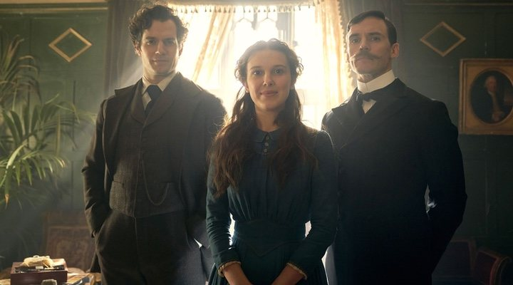 Henry Cavill, Millie Bobby Brown y Sam Claflin en 'Enola Holmes'