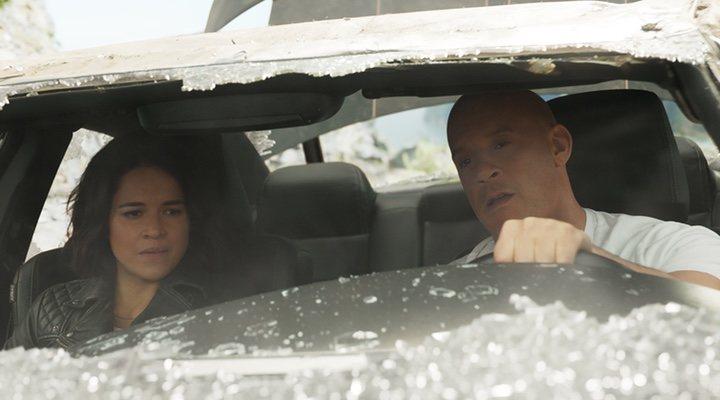 Michelle Rodriguez y Vin Diesel en 'Rápidos y Furiosos 9' (2021)