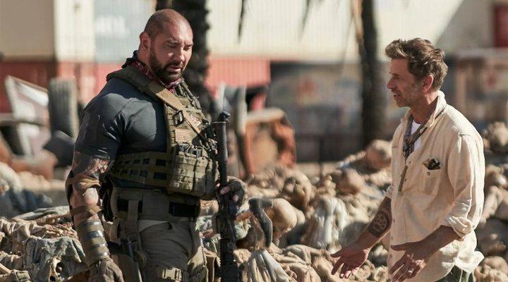 Dave Bautista y Zack Snyder en el set de 'Ejército de los muertos'