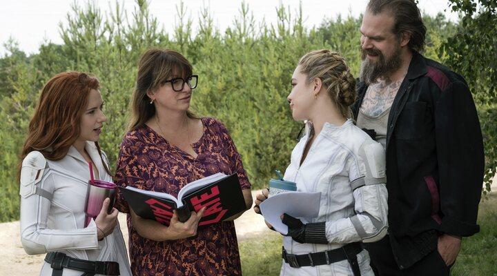 Scarlett Johansson, Cate Shortland, Florence Pugh y David Harbour