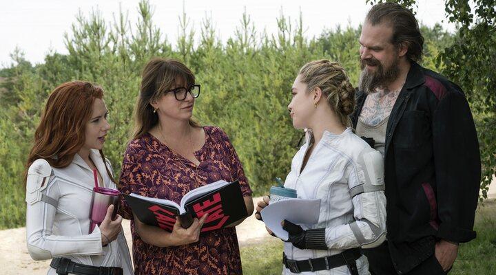 Scarlett Johansson, Cate Shortland, Florence Pugh y David Harbour en el rodaje de 'Viuda Negra'