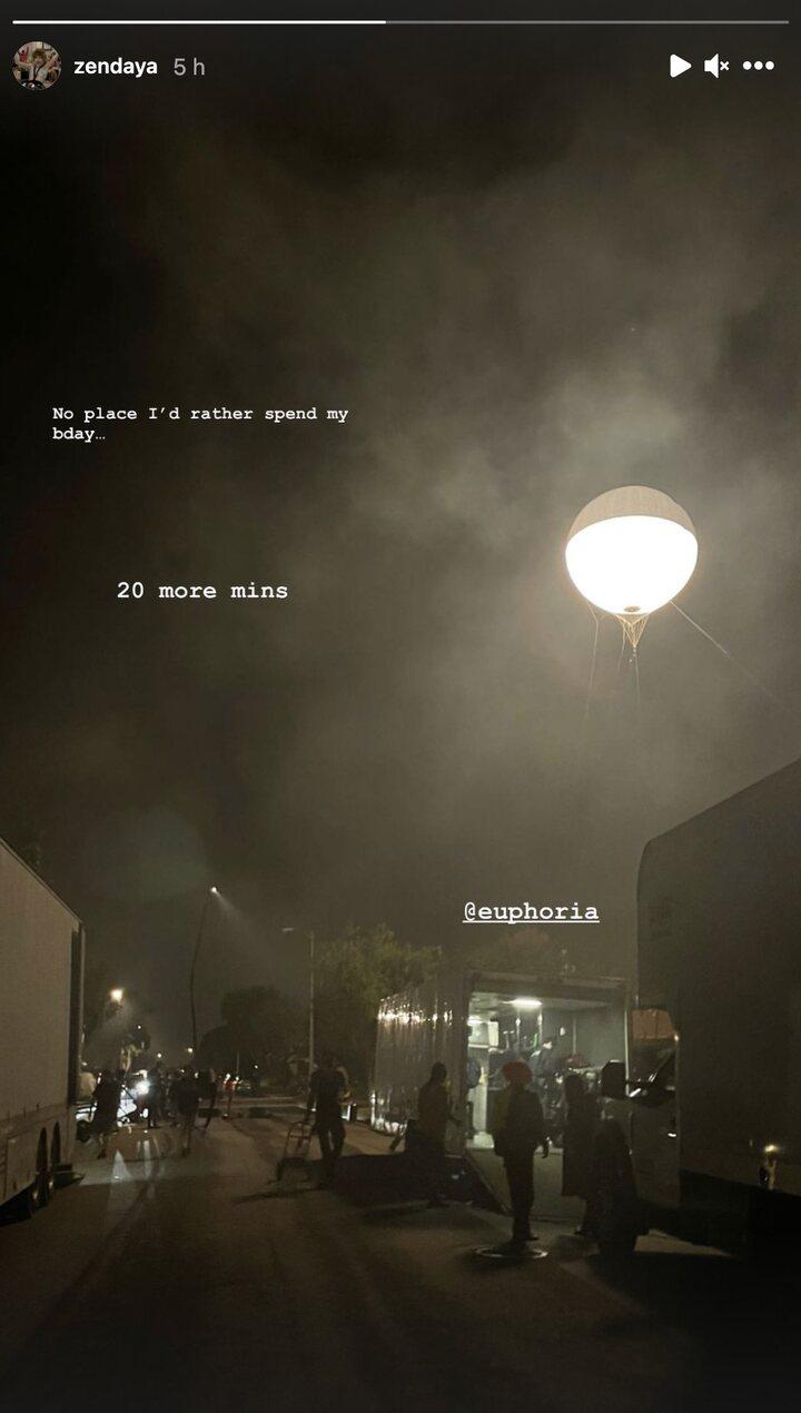 Story de Zendaya en el rodaje de 'Euphoria'