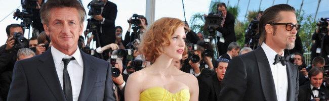 Sean Penn, Jessica Chastain y Brad Pitt presentando El arbol de la vida en Cannes