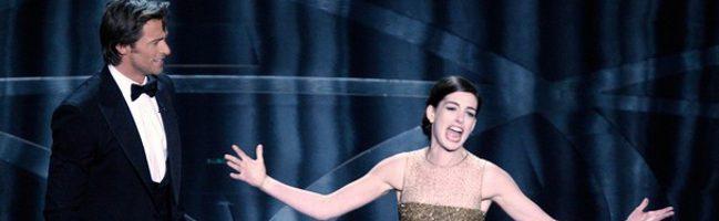 Anne Hathaway y Hugh Jackman durante los Oscar 2009