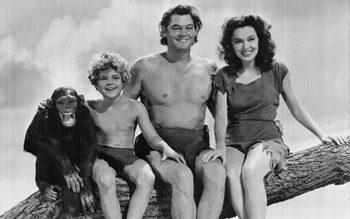Cheetah, Johnny Weissmuller y Maureen O'Sullivan en Tarzan